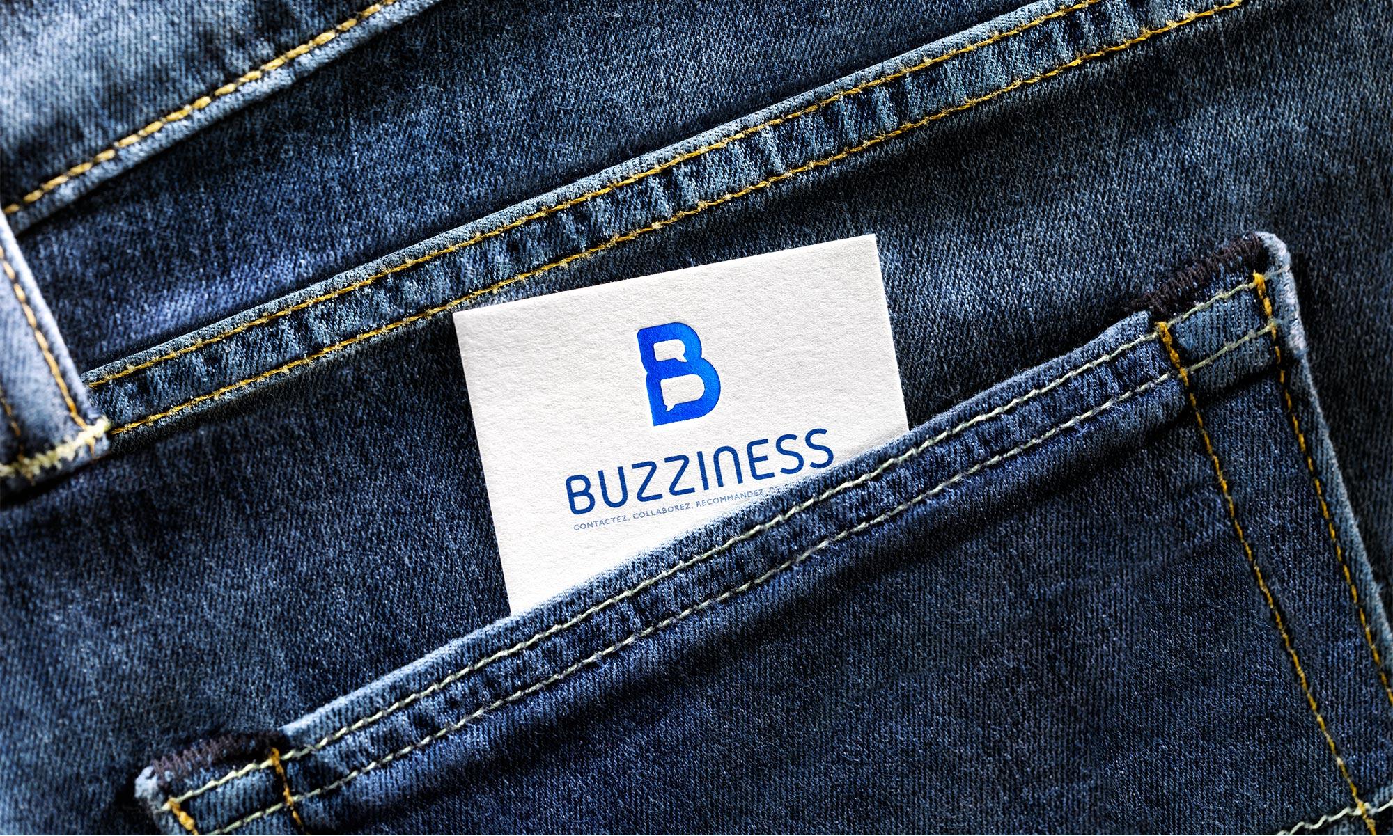 Agence de communication Brand to Design Bordeaux : carte de visite / identité visuelle Buzziness
